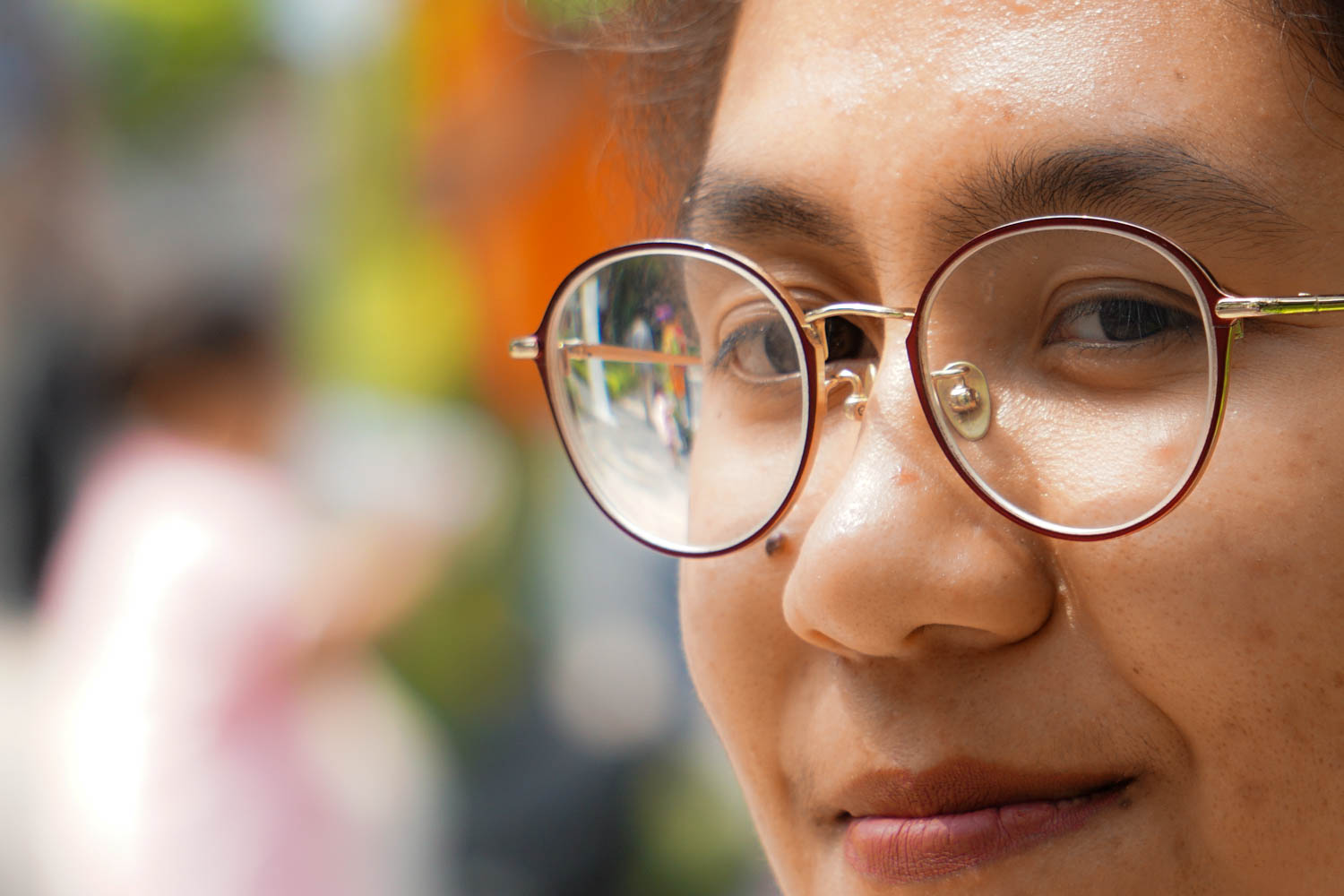 Close-up of woman with glasses